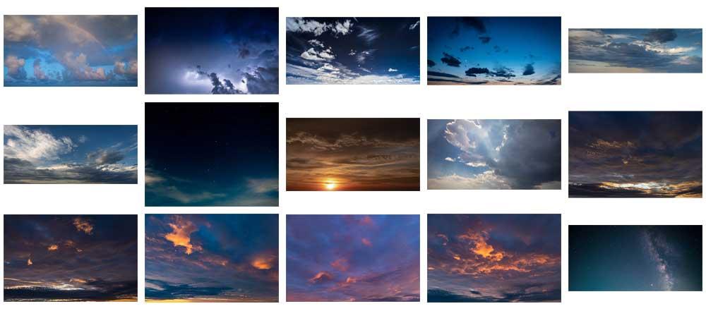 Tutti i cieli che troverai nel pacchetto Cieli Movimentati